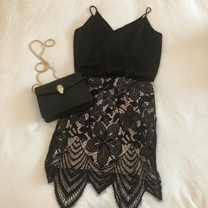Express Nude and Black Lace Skirt